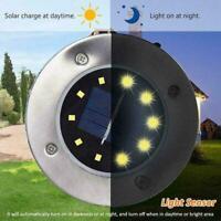 8 LED Solar Disk Lights Ground Flat Garden Lawn Deck Outdoor Hot Path Z4Q8