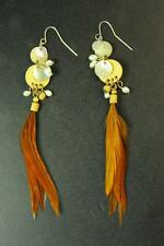 HIPPY CHICK STYLE LADIES CHESTNUT BROWN FEATHER/BEADED DANGLE EARRINGS (ZX2)