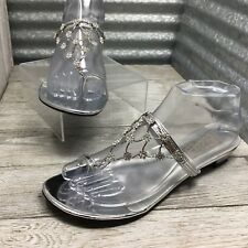 Touch Up Women's Vegan Leather Sandal Foot Jewelry Crystal Flowers Silver Sz 7.5
