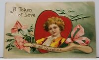 Valentine Token of Love Sweet Boy in Heart With Wishbone Embossed  Postcard F20