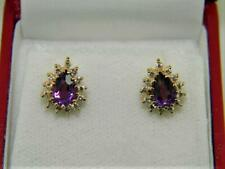 Gorgeous !!! 14k Yellow Gold Diamond Halo Earrings w Pear Cut Africa Amethyst