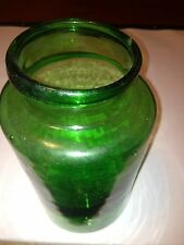"~Pontil Mark Green Jar!-4"" diameter x 7-1/4 high~Bubbles in Glass!~"