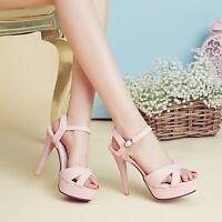 Women Peep Toe Platform High Heel Stiletto Ladys Fashion Party Sandal Shoes SZ