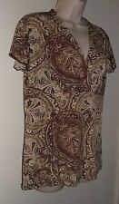 "J K L A California Brown Paisley Short Sleeve Pull Over XL Bust 38"" Length 26"""
