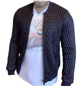 Zara Mens Blue Quilted Bomber Jacket Large