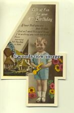su1868  - Child's 4th Birthday and Verse, Little Boy, shaped as a 4 -  postcard