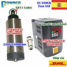 【ES】1.5KW ER11 220V Air Spindle Motor+Variable Frequency Drive VFD Inverter CNC