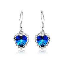 Nueva camiseta para mujer fiesta de cristal de lujo Corazón Azul Aretes Gota Gancho Joyas Bolsa De Regalo