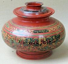 Antique WHIMSICAL SCENE HAND PAINTED BURMESE ARTIFACT VESSEL WATER POT Decor