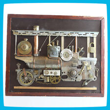 Metal Brass Composition Design 3D Bas-relief Train Locomotive Loco Railway Art