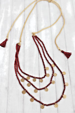 Charm Layered Necklace Burgundy Faceted Bead Disk
