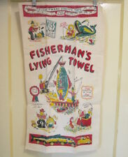 FUN!! Estate vtg 50s FISHERMAN'S LYING TOWEL! TEA TOWEL retro mid-Century