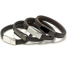 UNISEX Braided Premium Soft Leather Cuff Bracelet Black or Steel Magnetic Clasp
