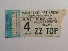 Vintage Zz Top Ticket Stub June 4 1983 Indianapolis, In Market Square Arena