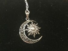 925 Sterling Silver Celtic Sun and Moon Pendant