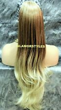 Ombre Caramel Bleach Blonde Long Wavy Ponytail Hair Piece Extension Drawstring