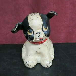 Vintage Cast Iron Black & White Puppy Dog with Red Collar