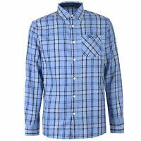 Pierre Cardin Mens Large Check Long Sleeve Shirt Casual Cotton Button Placket