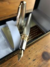 Xezo Maestro Fountain Pen 925 Sterling Silver With Swarovsky Crystal Band F Nib