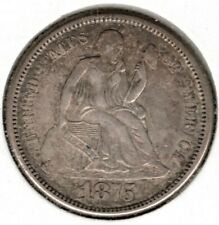 1875 S Seated Liberty Dime 10 Cent (Below Bow) - AU