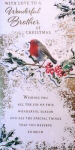BROTHER CHRISTMAS CARD ~ Traditional Classic Robin On Holly Berry Branch