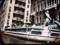 35MM SLIDE  RED BORDER ITALY VENICE GONDOLA RIDE TROUGH THE CANALS STATUE