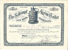 Pennsylvania Schimpf & Keim Boiler & Manuf Co Stock Certificate 1889 Norristown