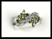 Green Peridot White Topaz simulated gemstone ladies silver ring size 10 R+5024