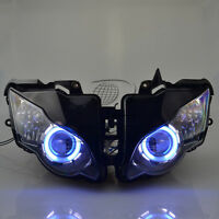 Headlight Assembly Blue+White Angel Eye Projector for Honda CBR1000 2008-2011