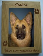 """PERSONALISED ENGRAVED DOG/PUPPY, MEMORIAL PAW PRINT WOODEN 4"""" X 6"""" PHOTO FRAME"""