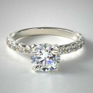 1.32 Carat Round Cut Diamond Engagement Ring Solid 14K White Gold Size M N O P Q