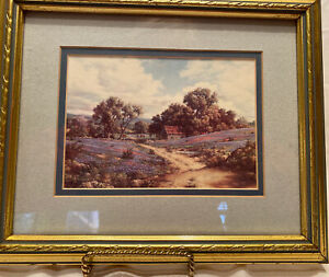 Texas Hill Country With Cattle Grazing Among The Blue Bonnets Framed Print