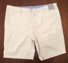 NEW TD Thomas Dean Men's Size 38 x9 1/2 Flat Front Khaki 100% Cotton Short STONE