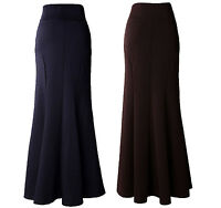 LOVELY WOMEN SLIM FITTED LONG BLUE BROWN MAXI SKIRT SIZE 1012 14 16 18 20 22 24