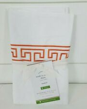Pottery Barn Geo Embroidered Organic Percale Sham Standard Coral Orange White