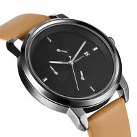 Hot Sale Men Sports Date Analog Quartz Leather Band Stainless Steel Wrist Watch