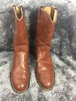 Justin Brown Leather Roper Cowboy Cowgirl Boots L3802 Western Women's Size 5 B