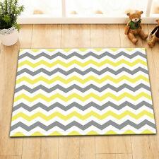 Yellow Grey Chevron Pattern Floor Rug Non-skid Door Bath Mat Home Decor Carpet