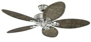 """Hunter Ceiling Fan SAVOY 132 cm / 52"""" brushed chrome with wicker blades"""