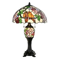 Open Box Tiffany Style Lamp Victorian Birds Floral Stained Glass Lamp Home