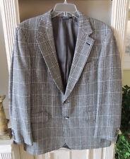 Saks Fifth Avenue Blazer Jacket Sport Coat Glen Plaid Men's 42R woolblend