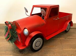 """15"""" L - Metal Red Truck Vintage Style Pickup Decor with Attached Wreath - New"""