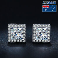 18K White Gold Filled 8mm Square Shape Stud Earrings With SWAROVSKI Crystal
