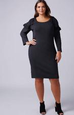 New LANE BRYANT $90 Ruffle Cold-Shoulder Sweater Dress Navy Blue Plus 26/28 4X