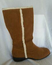 Karen Scott NEW 11 M Kimi Chestnut side zip up mid calf faux fur lining boots