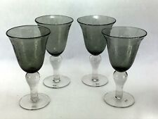 """4 Hand Blown Artland Controlled Bubble Gray Glass Wine Water Goblets 8"""""""