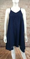 JOA Los Angeles Navy Striped Asymmetrical Dress Size Medium