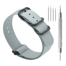 PREMIUM Ballistic Nylon Watch Band 5 PVD RING ZULU STRAP SMOKE GREY 20MM