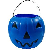 Halloween Blow Mold JOL Pumpkin Candy Pail Bucket Vintage General Foam Blue
