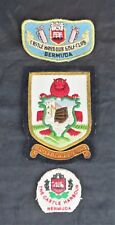 3 Vintage Embroidered Blazer Patches/Crests from Bermuda Including Coat of Arms